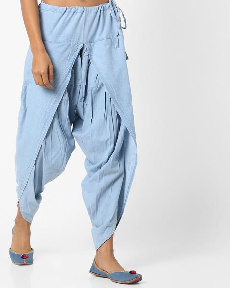 Dhoti Pants With Drawstring Waist By AJIO ( Ltblue )