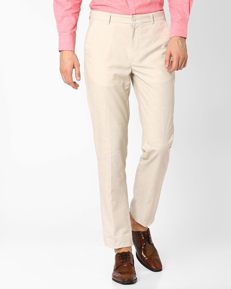Linen Smart Casual Straight Fit Trousers By NETWORK ( Cream )