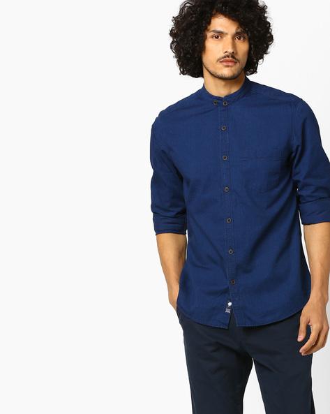Slim Fit Denim Shirt By NETPLAY ( Darkblue )