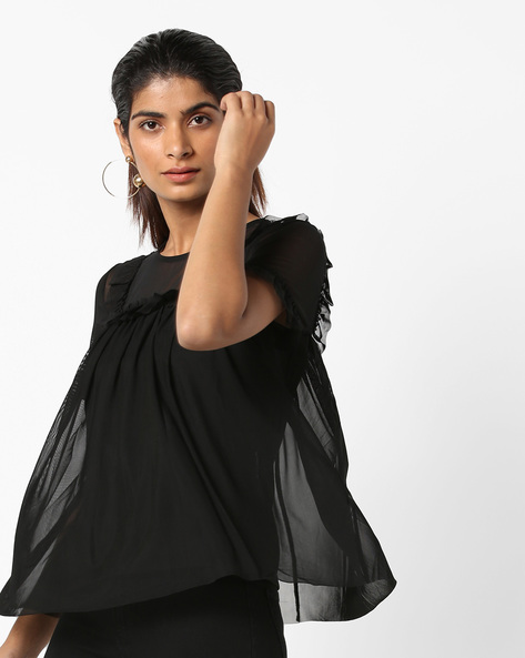 Mesh Top With Ruffles By Only ( Black )