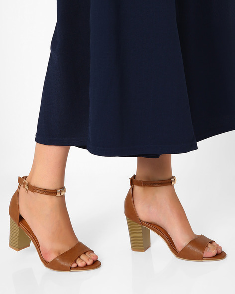 Block Heels With Ankle Strap By MFT Couture ( Brown )