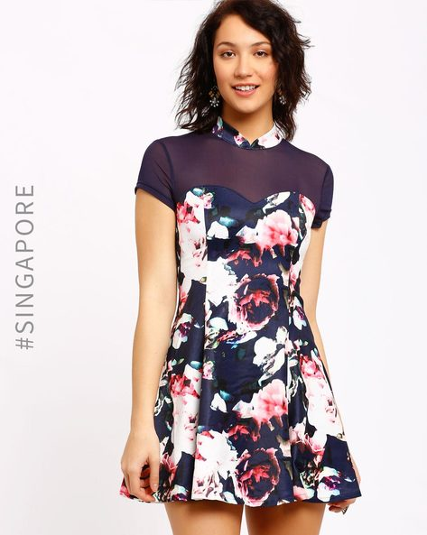 Floral Print Skater Dress By MDS ( Multi )