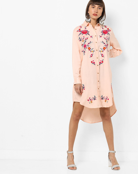 Floral Embroidered Shirt Dress By AJIO ( Peach )
