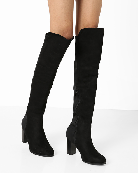 Chunky-Heeled Knee-Length Micro Boots By Truffle Collection ( Black )