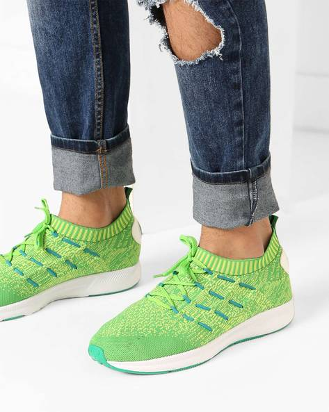 Lace-Up Sneakers With Elasticated Mouth By AJIO ( Green )