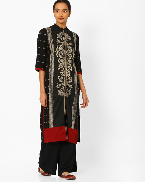 Floral Print Kurta With Contrast Hems By W ( Beige )