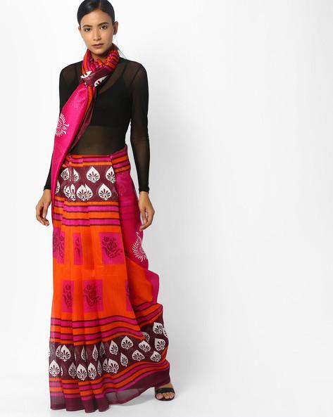 Bhagalpuri Printed Silk Saree By Florence ( Pink )