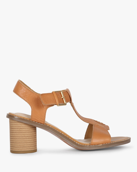 Glacier Ray Ankle-Strap Sandals With Chunky Heels By CLARKS ( Tan )