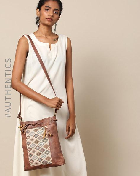 Handloom Ikat Vegan Leather Sling Bag By A BIG INDIAN STORY ( Tan )