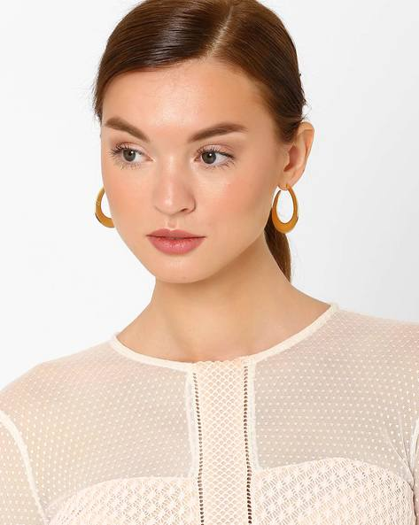 Brass Hoop Earrings By AJIO ( Gold )