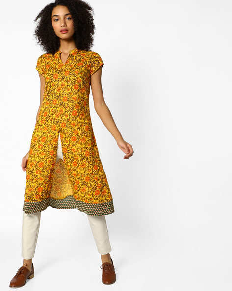 Floral Print Kurta With Front Slit By AJIO ( Mustard )