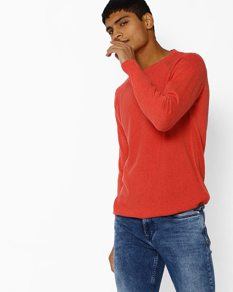 Knitted T-shirt With Full Sleeves By NETPLAY ( Pink )