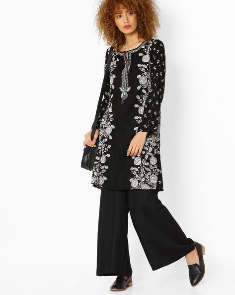 Floral Print Dress By Global Desi ( Black )