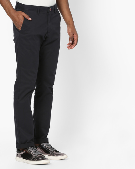 Flat-Front Tapered Chinos By NETPLAY ( Navy )