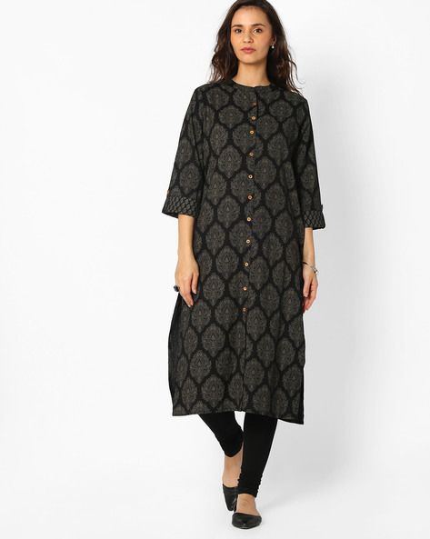 Block Print Kurta With Button Placket By Avaasa Ariah ( Black )