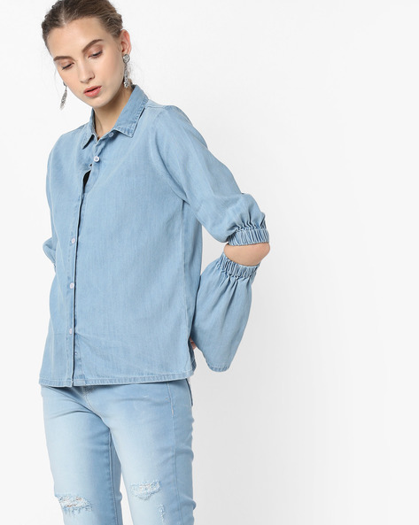 Denim Shirt With Cutout Sleeves By Blue Saint ( Blue )