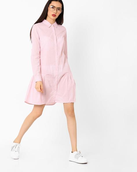 Striped Button Down Dress By AJIO ( Peach )