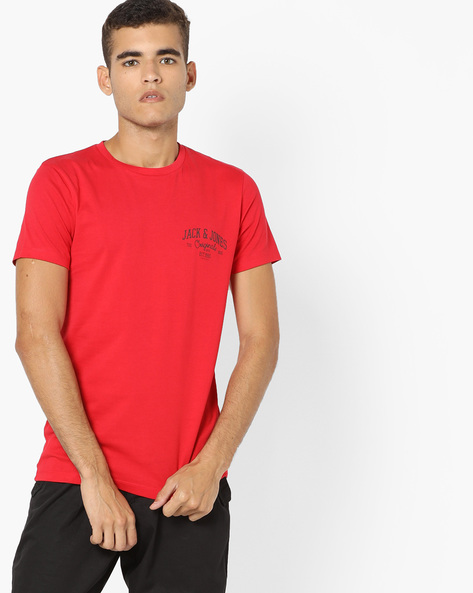 Crew-Neck Slim Fit T-shirt By Jack & Jones ( Red )