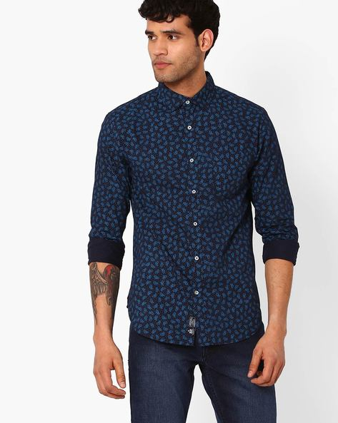 Regular Fit Printed Shirt By Blue Saint ( Navy ) - 460049497003