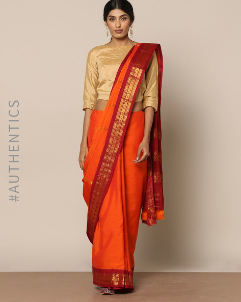 South Cotton Silk Saree With Rich Pallu By Indie Picks ( Orange )