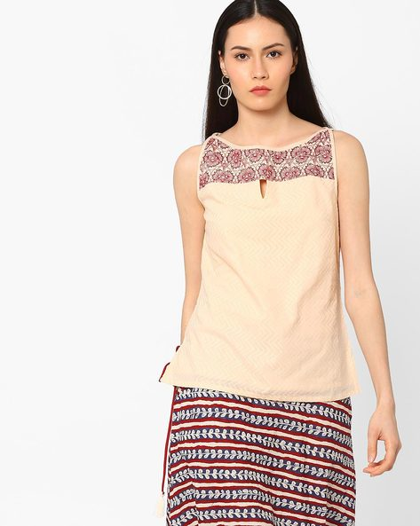 Sleeveless Top With Embroidered Yoke By AJIO ( Peach )