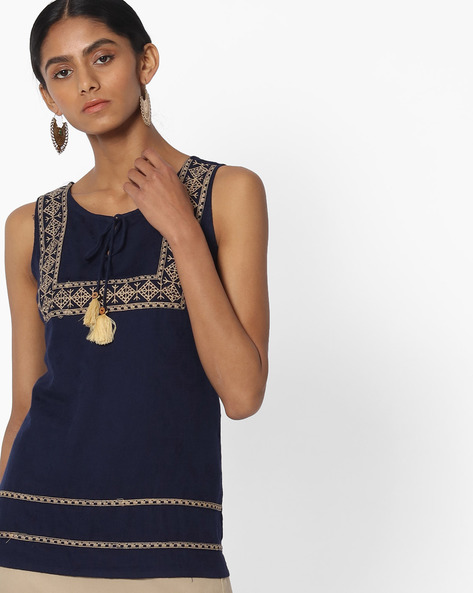 Embroidered Sleeveless Top With Tie-Up By FUSION ( Navy )