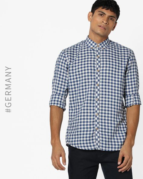 Checked Shirt With Button-Down Collar By Tom Tailor ( Blue )
