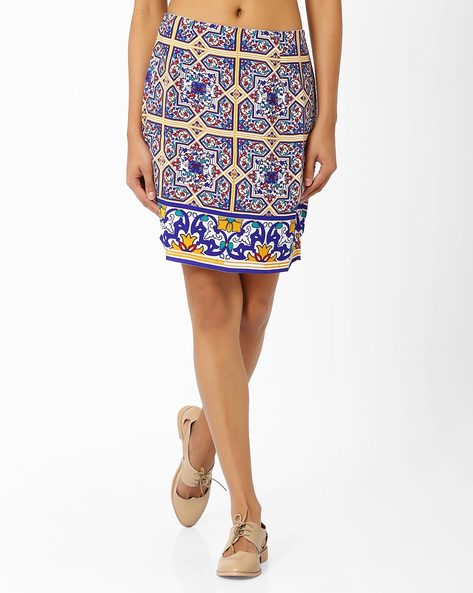 Tile Print Mini Skirt By AJIO ( White )