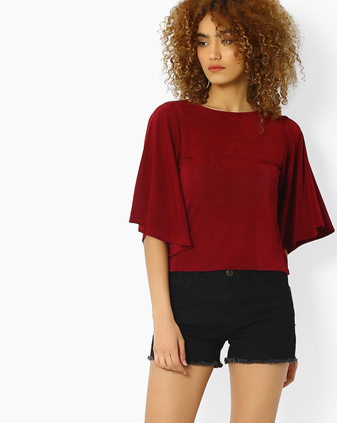 Crop Top With Batwing Sleeves By And ( Maroonburg )