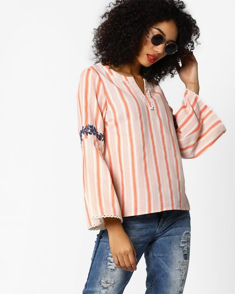 Striped Top With Bell Sleeves By AJIO ( Peach )