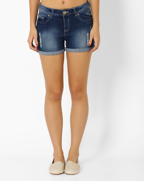 Distressed Denim Shorts With Embellishments By AJIO ( Blue )
