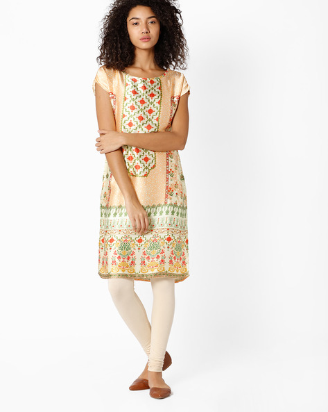 Graphic Print Shift Dress By Indian Ink ( Peach )