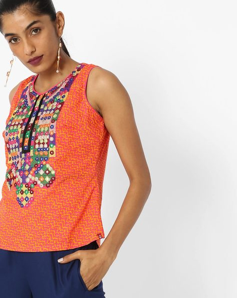 Embroidered Sleeveless Top With Tie-Up By Biba ( Orange )