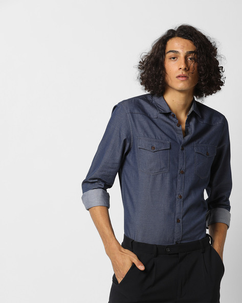 Slim Fit Shirt With Flap Pockets By AJIO ( Navy )
