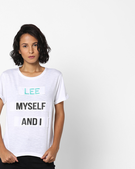 Heathered T-shirt With Typographic Print By Lee ( White )