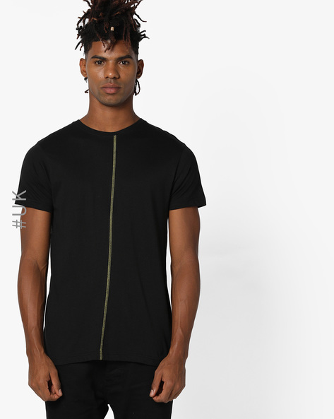Crew-Neck T-shirt With Back Print By NIGHT ADDICT ( Black )
