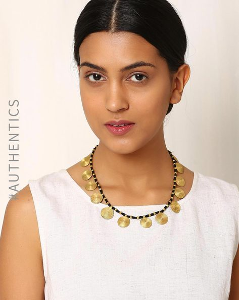 Handcrafted Dhokra Brass Necklace By Indie Picks ( Black )