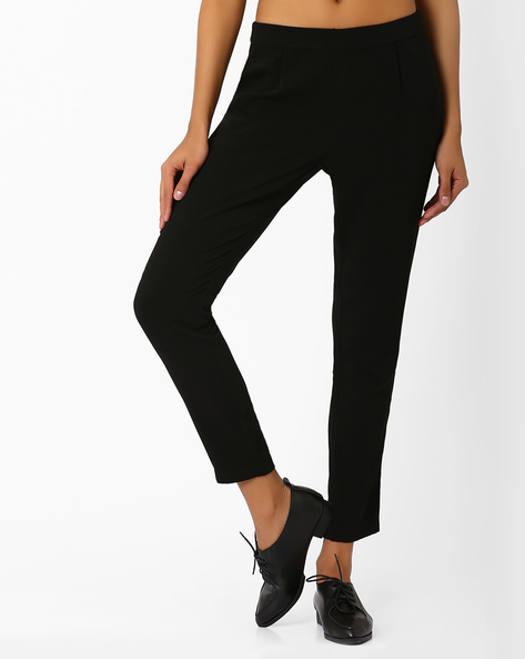 Tapered Ankle-Length Trousers By AJIO ( Black )