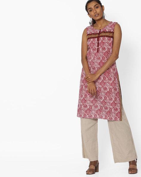 Printed Sleeveless Straight Kurta By Aaboli ( Maroon ) - 460151390001