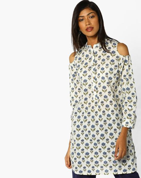 Floral Print Kurta With Cold-Shoulder Sleeves By AJIO ( Navy )