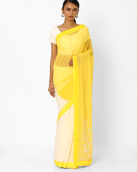 Designer Georgette Saree By RCPC ( Yellow )