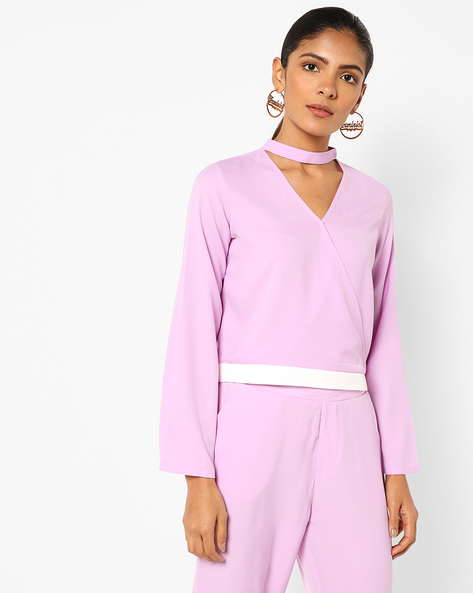 Jumpsuit With Choker Neckline By AJIO ( Lilac )