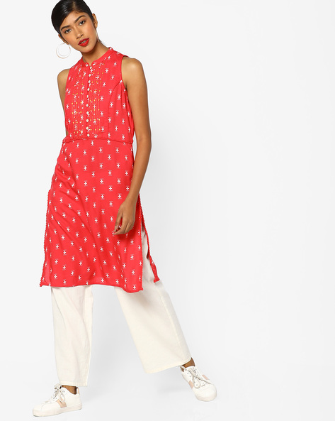 Printed Straight Kurta With Mandarin Collar By AJIO ( Pink )