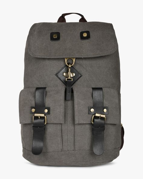 Travel Backpack With Flap Closure By AJIO ( Grey )