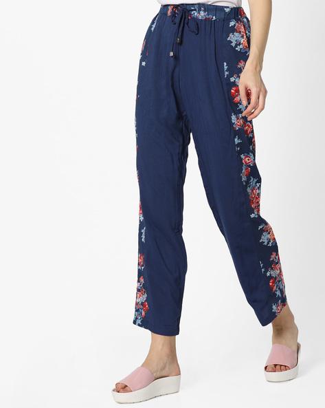 Pyjamas With Floral Print Panels By Mystere Paris ( Blue )