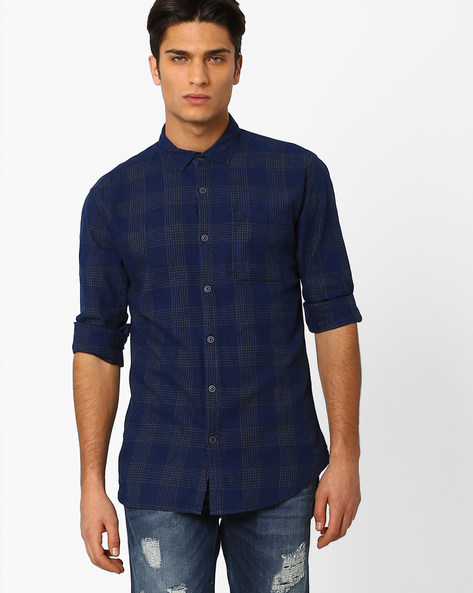 Checked Twill Slim Fit Shirt By Nature Casuals ( Navyblue )