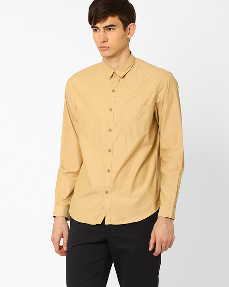 Slim Fit Shirt With Patch Pocket By JOHN PLAYERS ( Yellow )