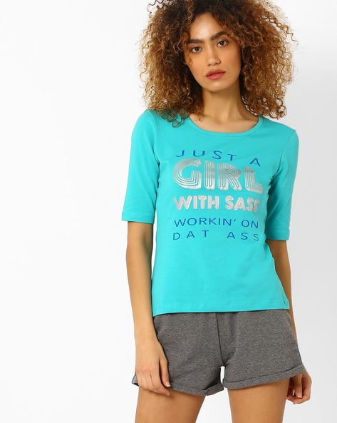 Graphic Print Crew-Neck T-shirt By AJIO ( Teal )
