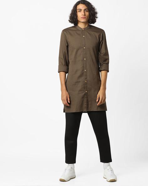Cotton Shirt Kurta With Band Collar By ANTIFERRO ( Olive )