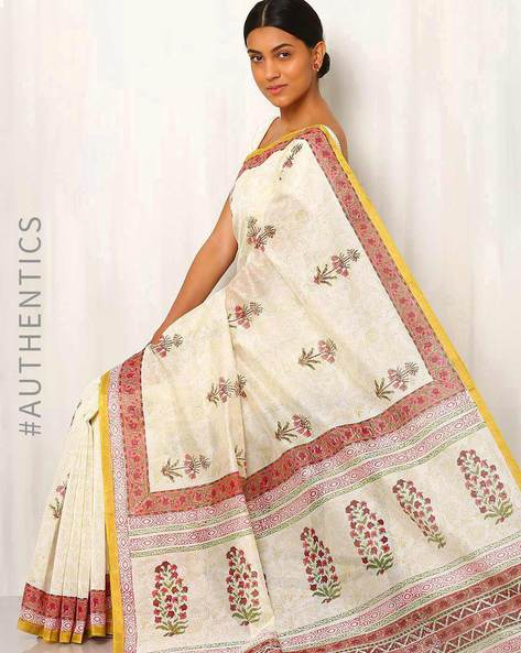 Hand Block Print Chanderi Saree By Indie Picks ( Multi ) - 460016420001